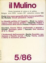 Copertina del fascicolo dell'articolo Ordine e ordinamento della storia. Note sulla filosofia della coscienza in Eric Voegelin